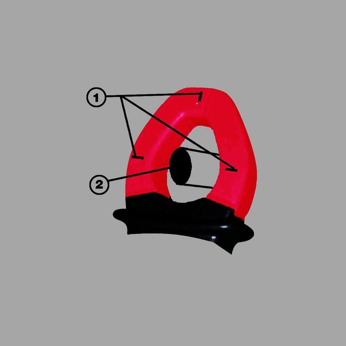3. kép: A lakatfogó mérőfejének méréskor felénk néző részén helyező jeleket látunk. Ezek azt jelzik, hogy a mérendő áramvezetőnek méréskor a három jelölés elméleti metszéspontjában kell lennie (1. helyező jelzések, 2. áramvezető)