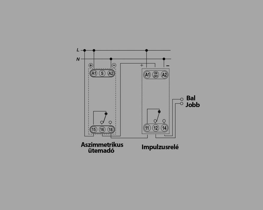Az alábbi kapcsolás két szellőztetőmotor váltott működését vezérli kis szünetekkel.