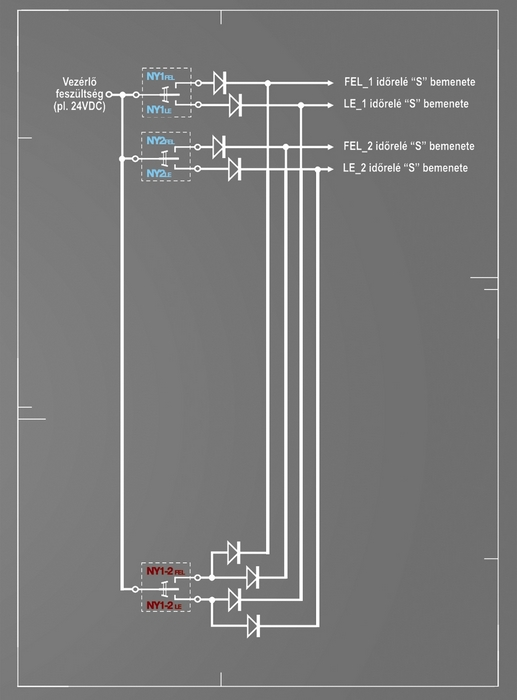 3. ábra: A diódákat megfelelő hálózatba kötve logikailag működőképes vezérlést kapunk az egy helyről több redőny (vagy bármi más) mozgatására.
