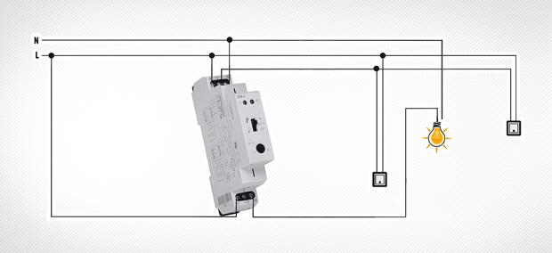 2. lépcsőházi automata fényerő-szabályozóval Fényerő növelése, a fény és fényerő folyamatos csökkentése beállítható időzítésekkel, beállítható állandó fényerősség bejárathoz, előszobába, lépcsőházba, kerti világításhoz.