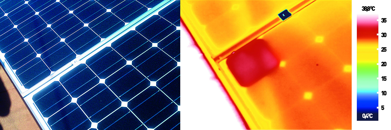 """1 . ábra Nem kell nagy árnyék ahhoz, hogy a napelemes rendszerünk kevesebbet termeljen, mert elég, ha csak a villámhárító árbóc árnyéka """"végigvándorol"""" a napelemeken. és megdöbbentő eredményt produkál."""