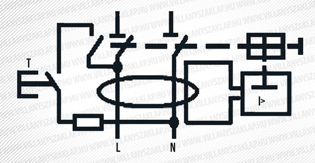 ÁVK áramutas rajza a teszt gomb bekötésével