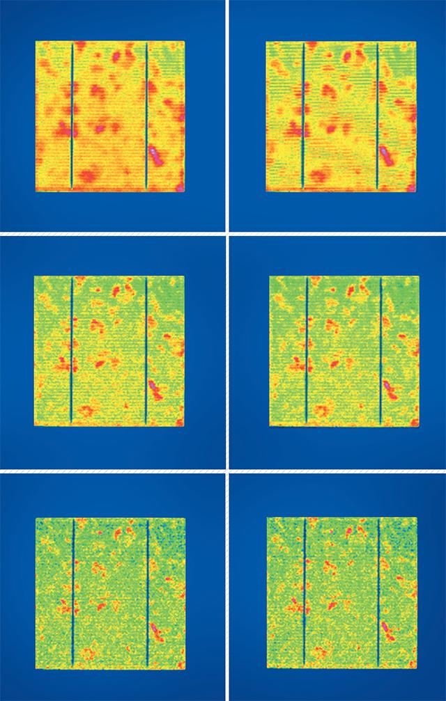 A gyártósorba integrált termográfiai minőségellenőzző-állomásnak köszönhetően bepillantást nyerünk a kristályos cellákban előforduló anomáliákra. A felvételen a sok kicsi túlhevült(pirosas) részlet alatt rejlenek az anyaghibák
