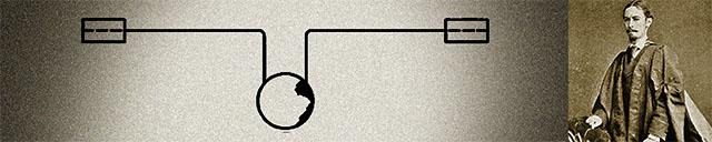 4. ábra: S.P. Thompson, angol egyetemi professzor tökéletesíti 1879-ben az addig használatos, de nem eléggé hatékony olvadóbiztosítókat saját ötlete alapján: a könnyen olvadó fémötvözetből készített gömbnél nem csak megszakad az áramkör, de a súlyánál fogva leszakadó golyó eltávolítja a fémszálakat, ami a kialakuló (egyenáramú!) ív kioltását segíti.
