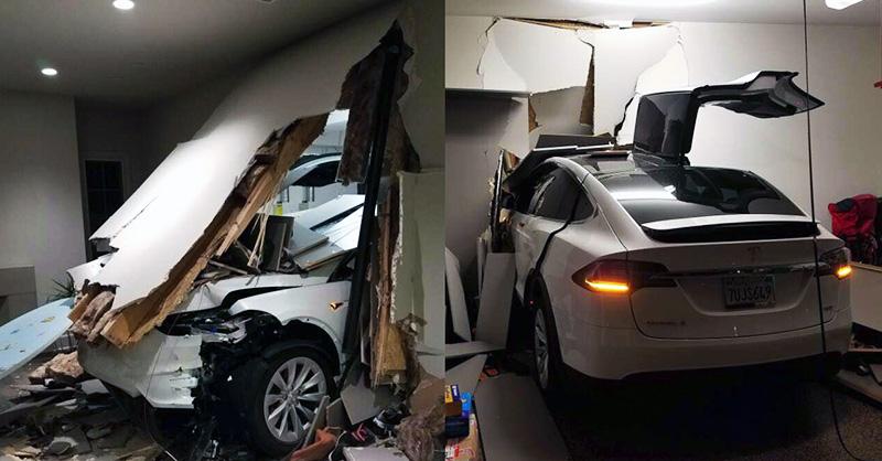 Falnak rohant egy Tesla egy garázsban